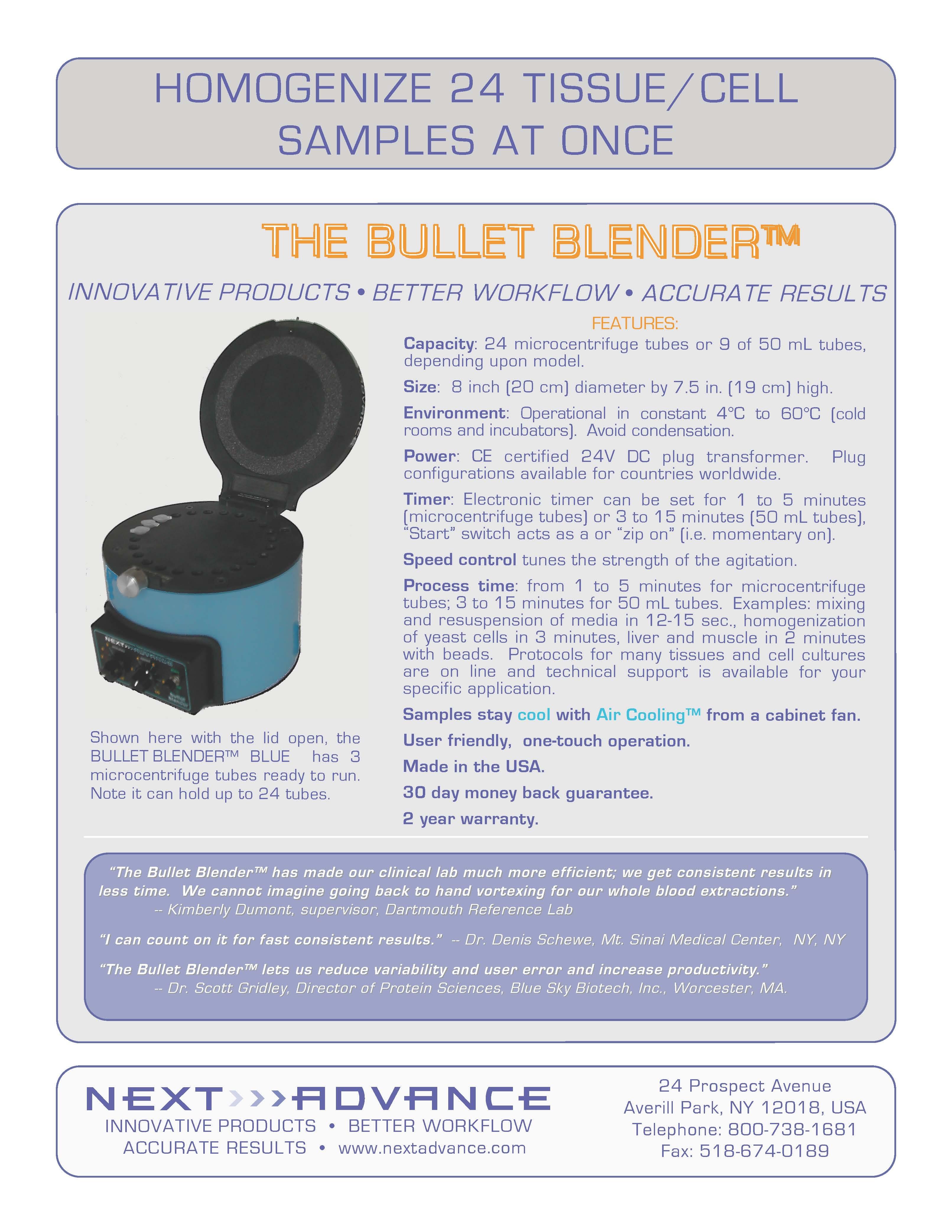 多功能24通道研磨珠均质器-BULLET BLENDER™ Homogenizer USA