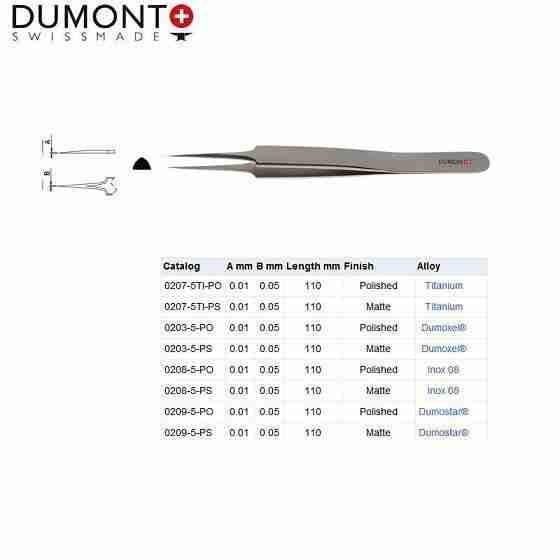 瑞士Dumont镊子0208-5-PO精细镊子0209-5-PO